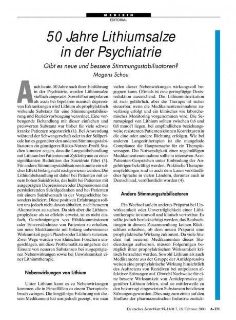 50 Jahre Lithiumsalze in der Psychiatrie