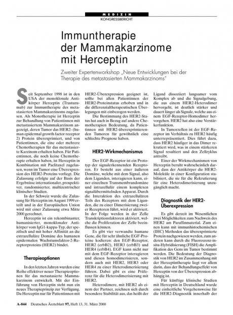 Immuntherapie der Mammakarzinome mit Herceptin
