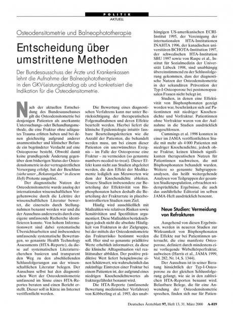 Osteodensitometrie und Balneophototherapie