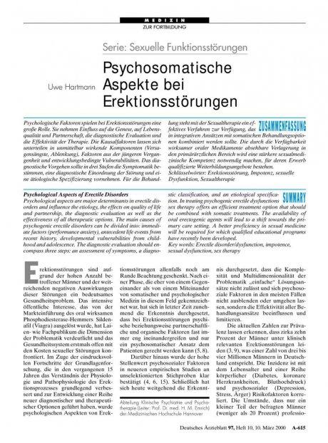 Serie: Sexuelle Funktionsstörungen – Psychosomatische Aspekte bei Erektionsstörungen
