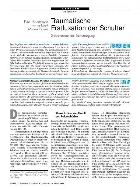 Traumatische: Erstluxation der Schulter Stufenkonzept der Erstversorgung