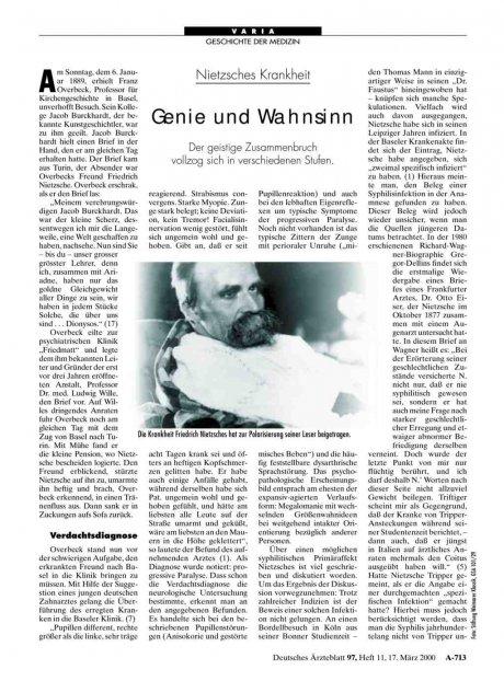 Nietzsches Krankheit: Genie und Wahnsinn