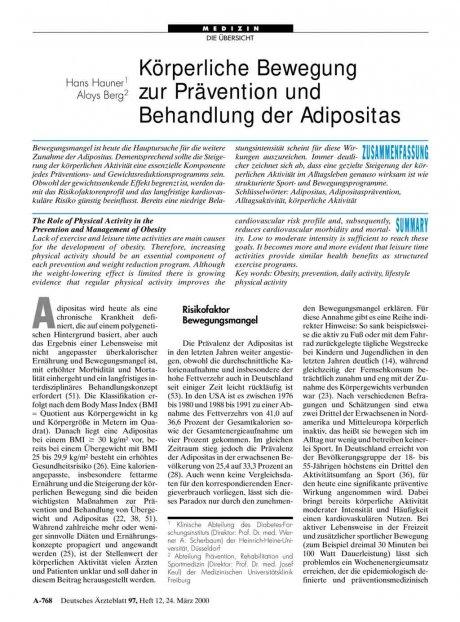Körperliche Bewegung zur Prävention und Behandlung...