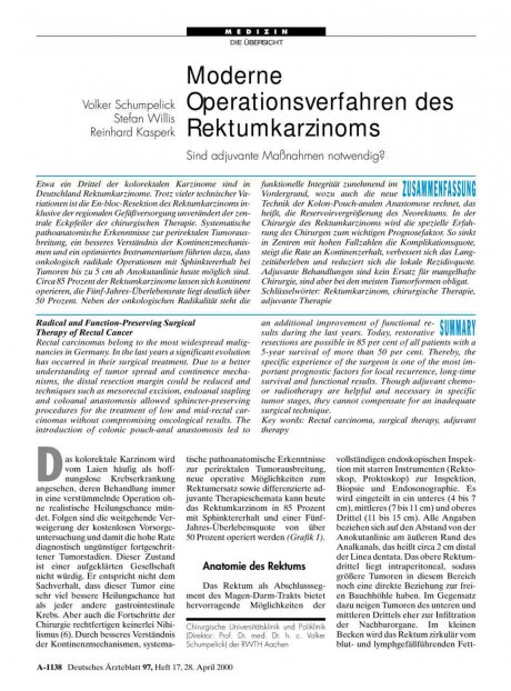 Moderne Operationsverfahren des Rektumkarzinoms: Sind adjuvante Maßnahmen notwendig?