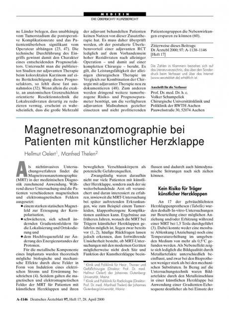 Magnetresonanztomographie bei Patienten mit künstlicher Herzklappe