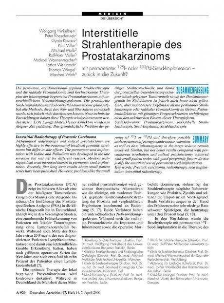 Interstitielle Strahlentherapie des...
