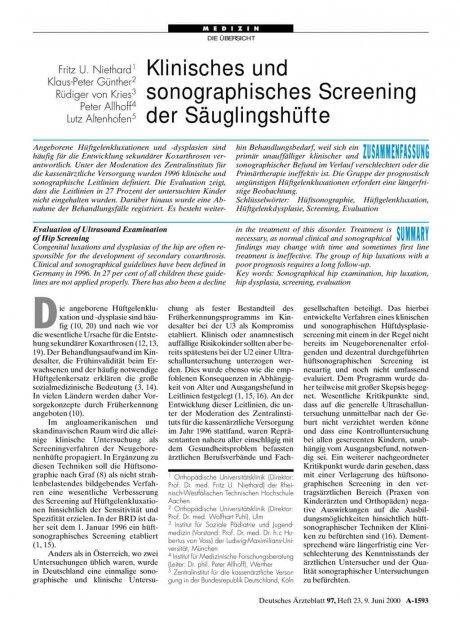 Klinisches und sonographisches Screening der...