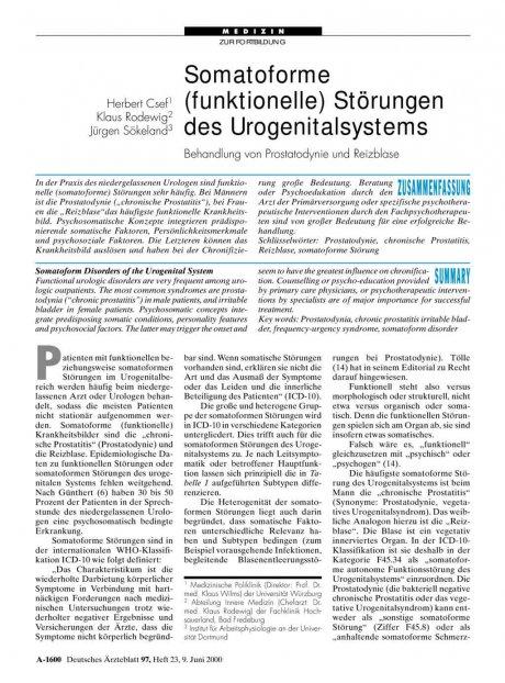 Somatoforme (funktionelle) Störungen des...