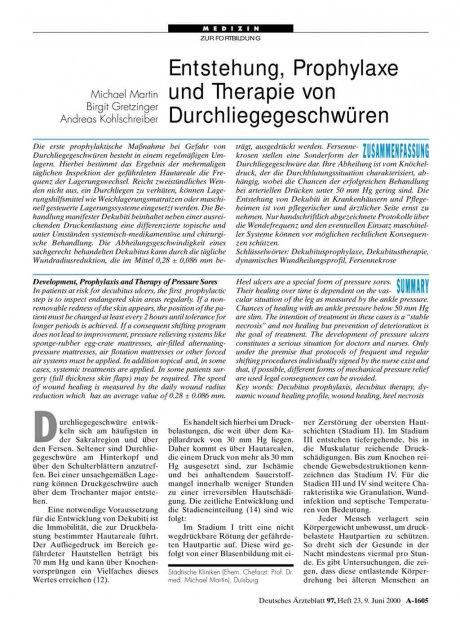 Entstehung, Prophylaxe und Therapie von...
