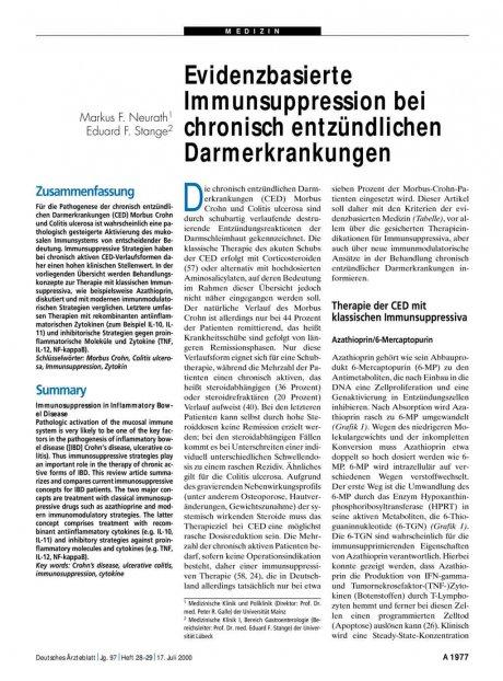 Evidenzbasierte Immunsuppression bei chronisch...