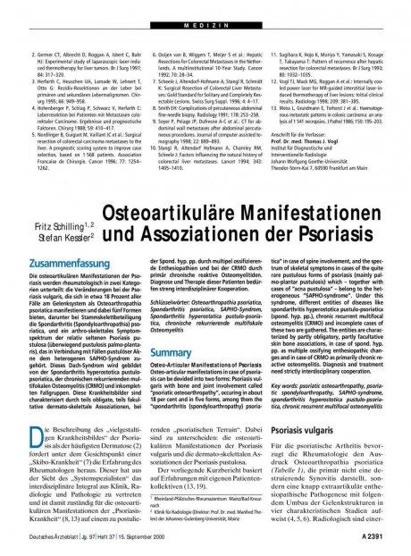 Osteoartikuläre Manifestationen und Assoziationen...