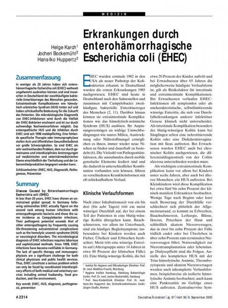 Erkrankungen durch enterohämorrhagische...