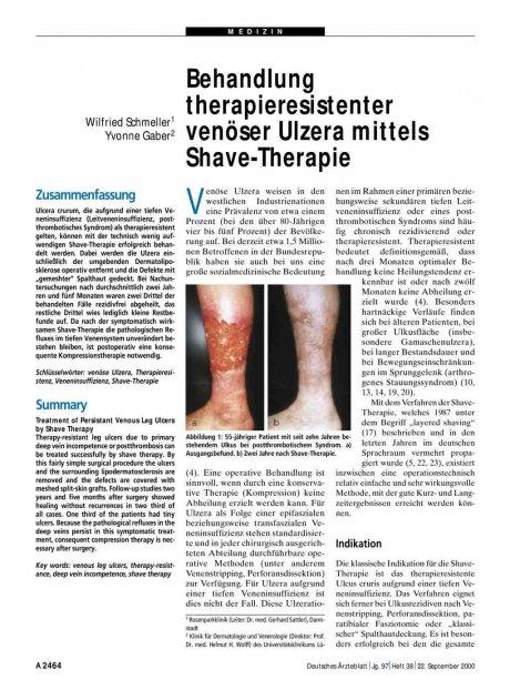 Behandlung therapieresistenter venöser Ulzera...