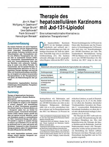 Therapie des hepatozellulären Karzinoms mit...
