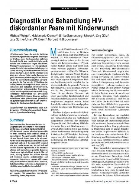 Diagnostik und Behandlung HIV-diskordanter Paare...
