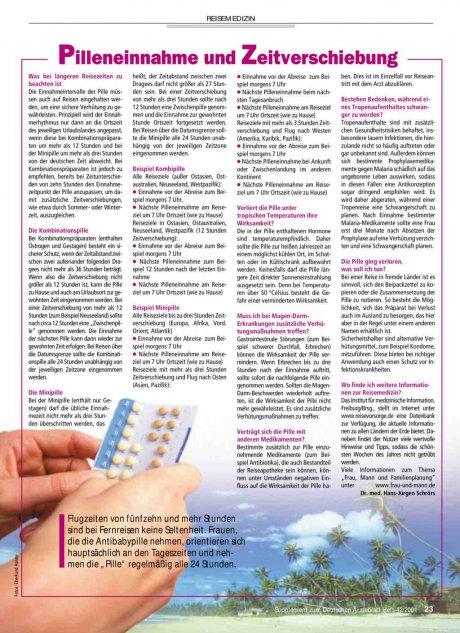 Pilleneinnahme und Zeitverschiebung