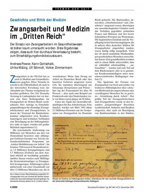 Geschichte und Ethik der Medizin. Zwangsarbeit und...