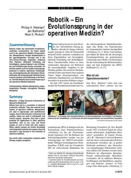 Robotik – Ein Evolutionssprung in der operativen...