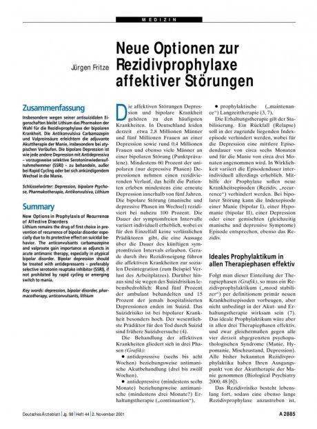 Neue Optionen zur Rezidivprophylaxe affektiver...
