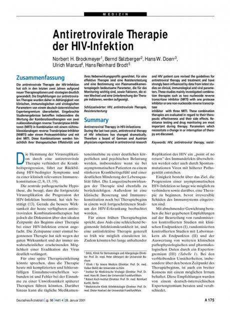 Antiretrovirale Therapie der HIV-Infektion