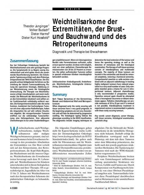 Weichteilsarkome der Extremitäten, der Brust- und...
