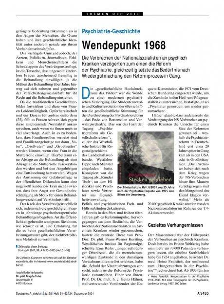 Psychiatrie-Geschichte: Wendepunkt 1968