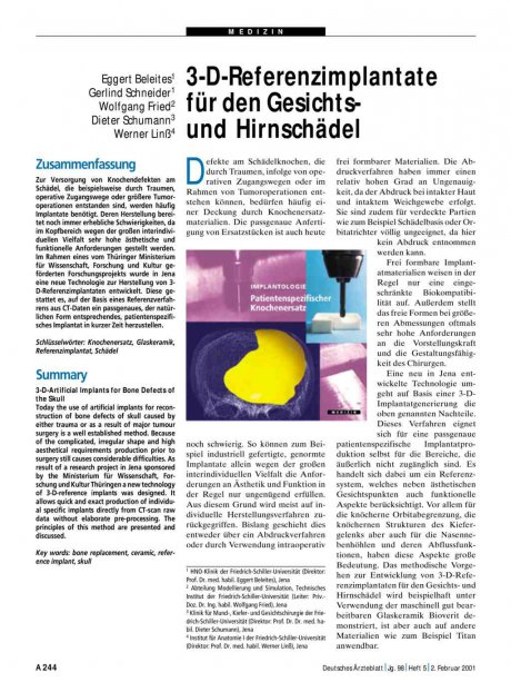 3-D-Referenzimplantate für den Gesichts- und...