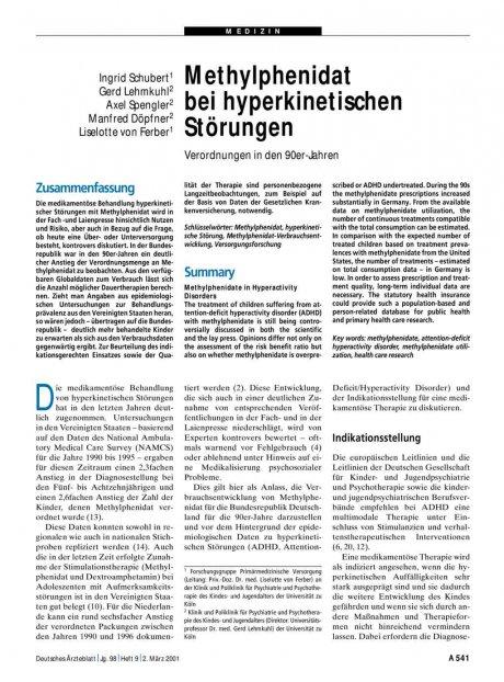 Methylphenidat bei hyperkinetischen Störungen
