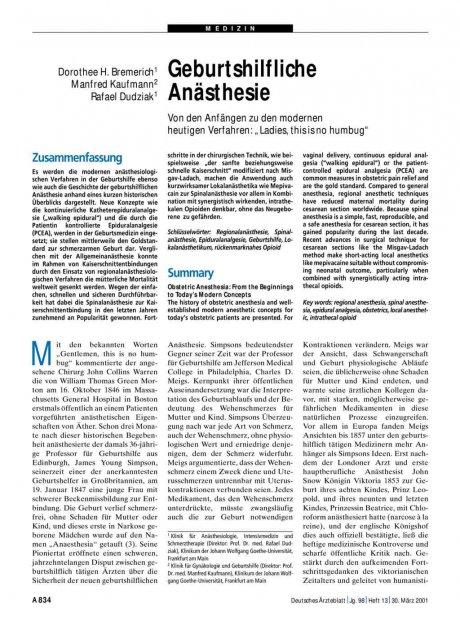 Geburtshilfliche Anästhesie – Von den Anfängen zu...