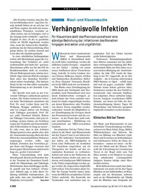 Maul- und Klauenseuche: Verhängnisvolle Infektion