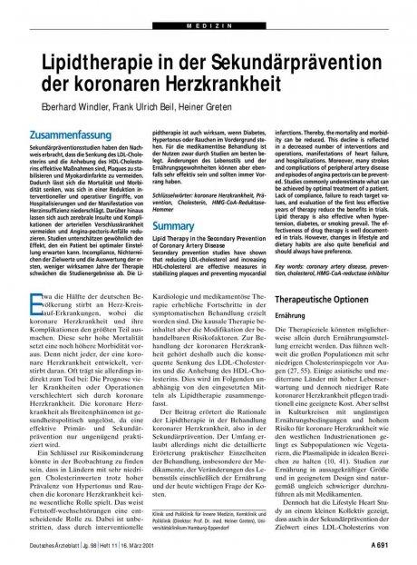 Lipidtherapie in der Sekundärprävention der...