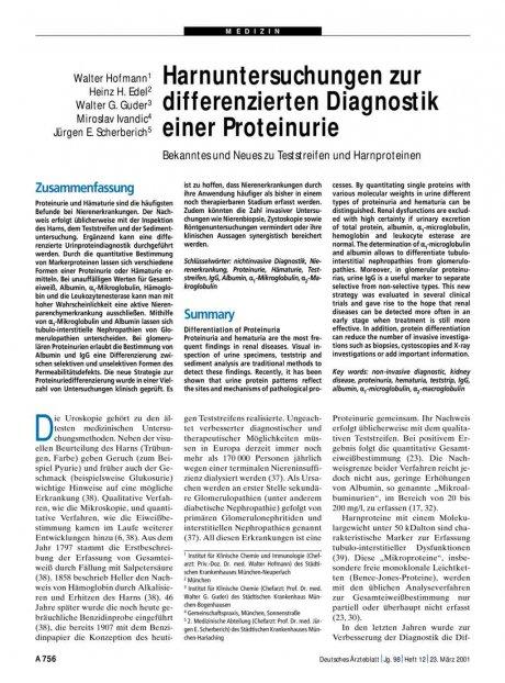 Harnuntersuchungen zur differenzierten Diagnostik...