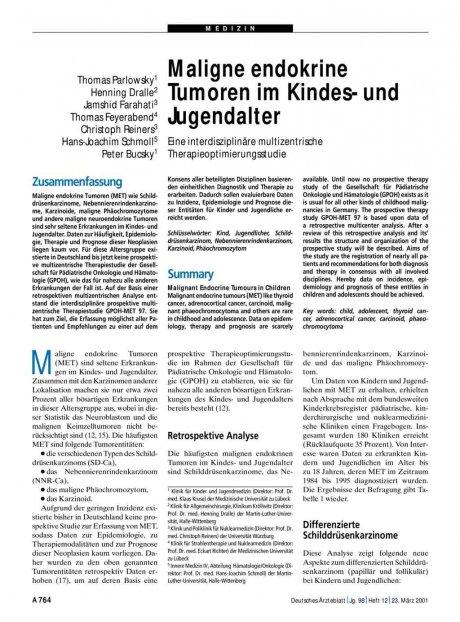 Maligne endokrine Tumoren im Kindes- und...