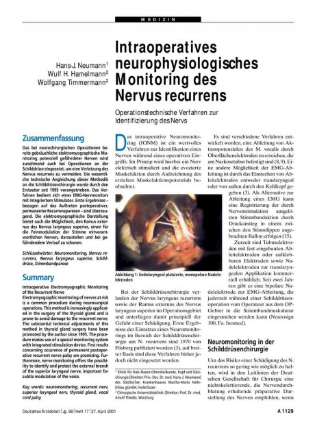 Intraoperatives neurophysiologisches Monitoring...