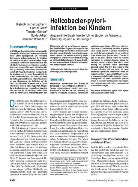 Helicobacter-pylori-Infektion bei Kindern