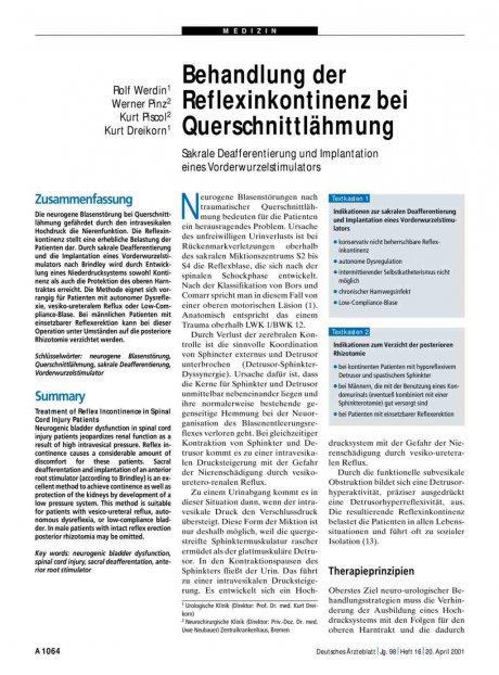 Behandlung der Reflexinkontinenz bei...