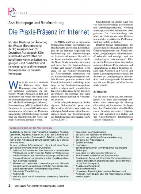 Arzt-Homepage und Berufsordnung