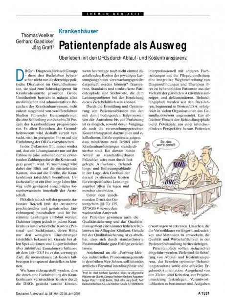 Krankenhäuser: Patientenpfade als Ausweg