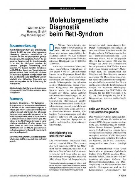 Molekulargenetische Diagnostik beim Rett-Syndrom
