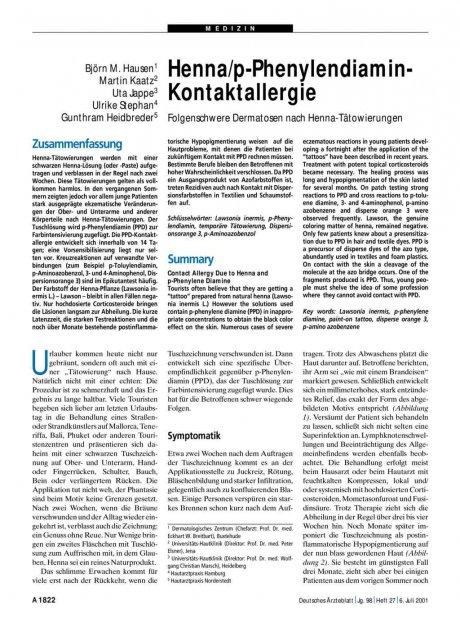 Henna/p-Phenylendiamin-Kontaktallergie