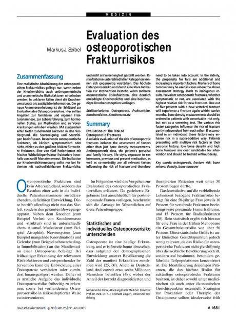 Evaluation des osteoporotischen Frakturrisikos