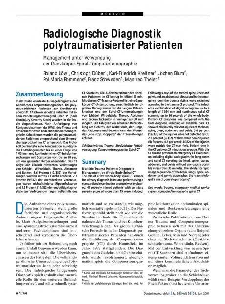 Radiologische Diagnostik polytraumatisierter...