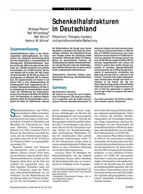 Schenkelhalsfrakturen in Deutschland