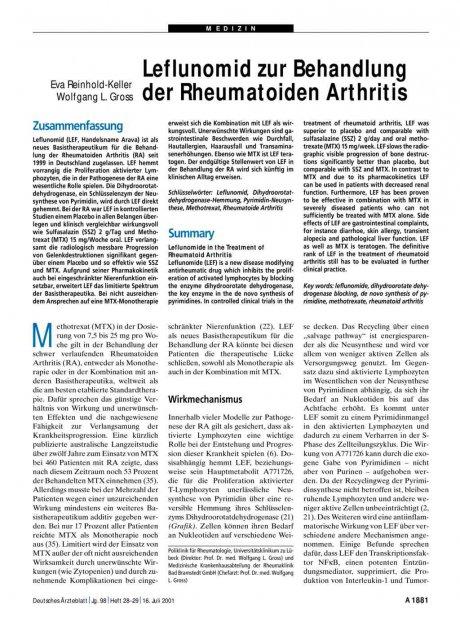 Leflunomid zur Behandlung der Rheumatoiden...