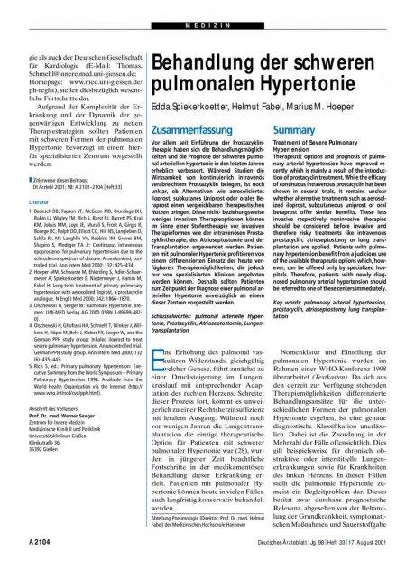 Behandlung der schweren pulmonalen Hypertonie