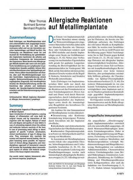 Allergische Reaktionen auf Metallimplantate