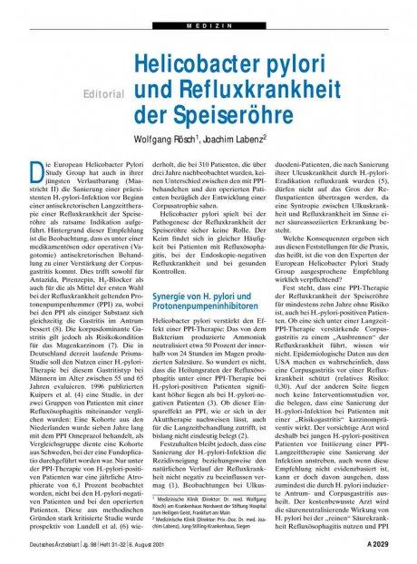Helicobacter pylori und Refluxkrankheit der...
