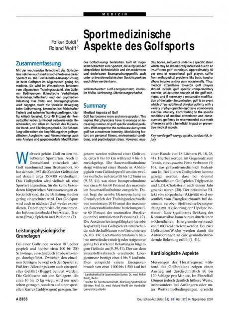 Sportmedizinische Aspekte des Golfsports