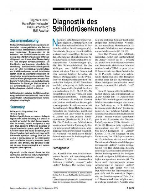 Diagnostik des Schilddrüsenknotens