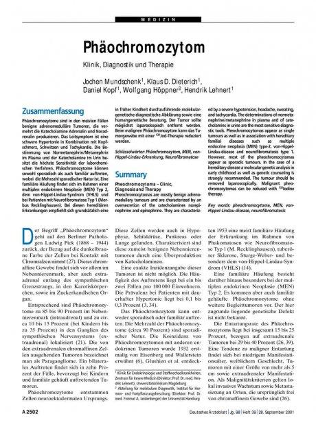 Phäochromozytom: Klinik, Diagnostik und Therapie